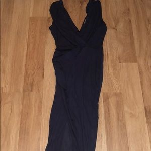 Navy suede dress